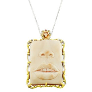 One-of-a-kind Michael Valitutti Palladium Silver Carved Cameo, Golden Citrine and Orange Sapphire Pendant