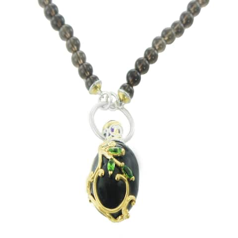 One-of-a-kind Michael Valitutti Palladium Silver Smoky Quartz, African Amethyst and Chrome Diopside Egg Necklace