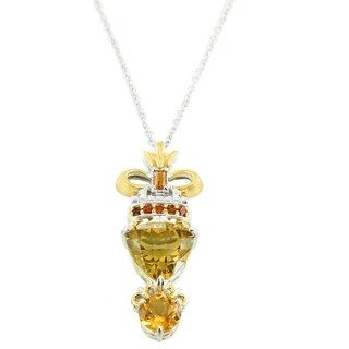One-of-a-kind Michael Valitutti Palladium Silver Louvre Palace Trillion and Round Citrine Pendant with Madeira Citrine