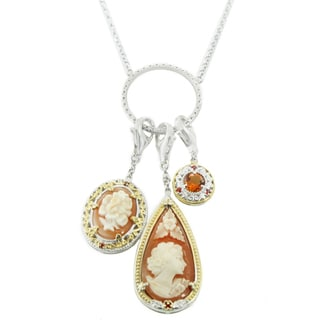 One-of-a-kind Michael Valitutti Palladium Silver Cameo, Madeira Citrine and Orange Sapphire Three Drop Pendant