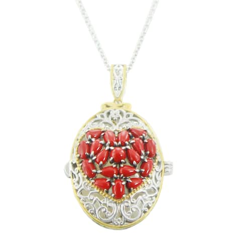 One-of-a-kind Michael Valitutti Palladium Silver Mother of Pearl and Red Jade Heart Locket Openable Pendant