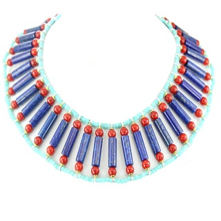 One-of-a-kind Michael Valitutti Palladium Silver Amazonite, Lapis and Red Coral Necklace with Magnetic Clasp