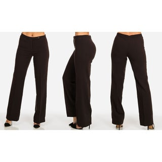 Women's Solid Brown Polyester-blend Mid-rise Work Dress Pants