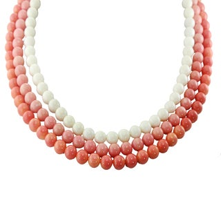 One-of-a-kind Michael Valitutti Palladium Silver Salmon, Pink and White Coral Necklace