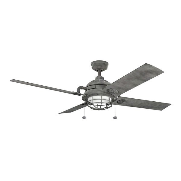 weathered wood ceiling fan farmhouse kichler lighting maor collection 65inch weathered zinc led ceiling fan shop