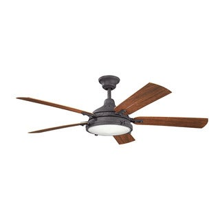 Kichler Lighting Hatteras Bay Patio Collection 60-inch Distressed Black Ceiling Fan w/Light