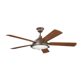 Kichler Lighting Hatteras Bay Patio Collection 60-inch Tannery Bronze Powder Coat Ceiling Fan w/Light