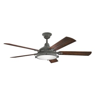 Kichler Lighting Hatteras Bay Patio Collection 60-inch Weathered Zinc Ceiling Fan w/Light