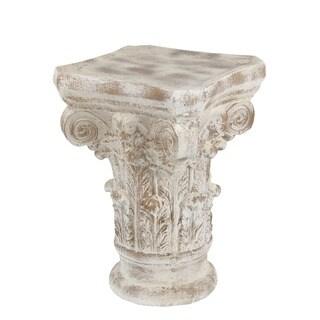 Privilege White Stone Ceramic Accent Table