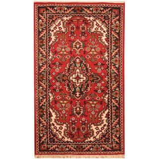 Herat Oriental Indo Hand-knotted Tribal Heriz Wool Rug (3' x 5')