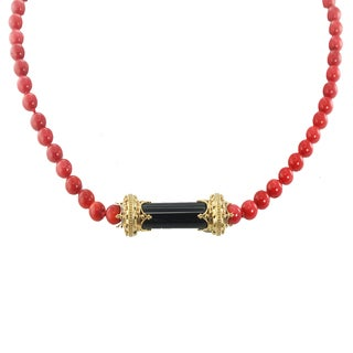 One-of-a-kind Michael Valitutti Palladium Silver Black Onyx and Red Coral Bead Necklace