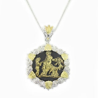 One-of-a-kind Michael Valitutti Palladium Silver Black and 24K Gold Porcelain Pendant with Black Spinel