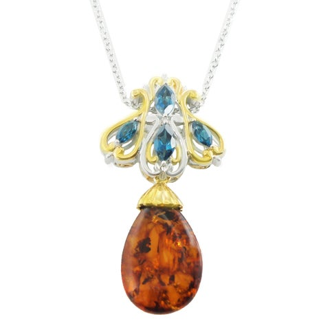 One-of-a-kind Michael Valitutti Palladium Silver London Blue Topaz and Amber Pendant