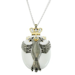 One-of-a-kind Michael Valitutti Palladium Silver White Jade, London Blue Topaz and Blue Sapphire Two Head Phoenix Pendant