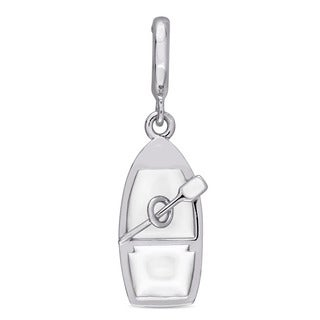 Laura Ashley Sterling Silver Boat and Oar Charm with White Enamel