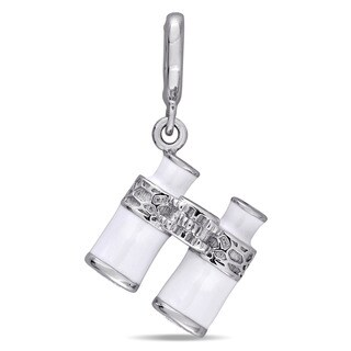 Laura Ashley Sterling Silver Created White Sapphire Binocular Charm with White Enamel
