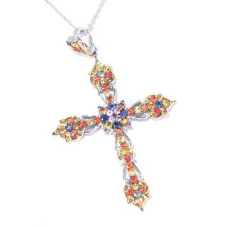 One-of-a-kind Michael Valitutti Palladium Silver Multi Color Sapphire Cross Enhancer Pendant