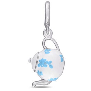 Laura Ashley Sterling Silver Teapot Charm Enamel with Baby Blue and White Enamel