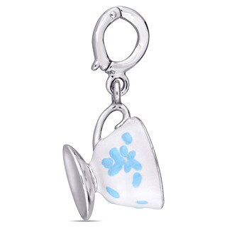 Laura Ashley Sterling Silver Tea Cup and Saucer Charm with Baby Blue and White Enamel