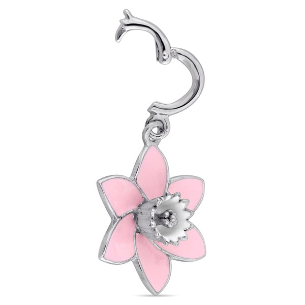 13 mm Sterling Silver Crystal Charm Bead Peridot /& Pink Topaz Flower Color Charm Bracelet Compatible