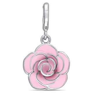 Laura Ashley Sterling Silver Rose Flower Charm with Pink Enamel