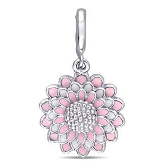Laura Ashley Sterling Silver Four-layered Flower Charm with Pink Enamel
