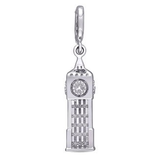Laura Ashley Sterling Silver London Big Ben Clock Tower Charm with White Enamel
