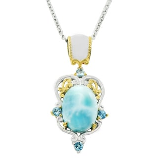One-of-a-kind Michael Valitutti Palladium Silver Larimar and Swiss Blue Topaz Pendant