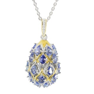 One-of-a-kind Michael Valitutti Palladium Silver Tanzanite Egg Cluster Pendant
