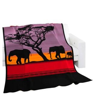 "Deluxe Comfort Biederlack Collection African Sunset Throw Blanket, 60"" x 50"" - Throw Blanket, Elephant Print"