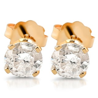14k Yellow Gold 1 1/2 ct TDW Diamond Studs (I-J,I2-I3)
