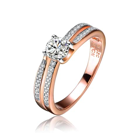 Collette Z Rose Gold Overlay Cubic Zirconia Ripple Ring - White