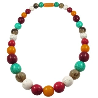 Luxiro Multi-color Resin Bead Strand Necklace - Red
