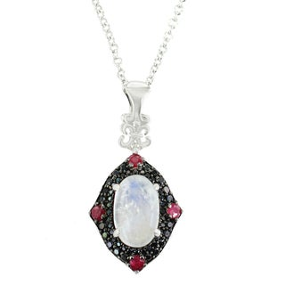 One-of-a-kind Michael Valitutti Palladium Silver Blue Moon, Ruby and Black Spinel Pendant