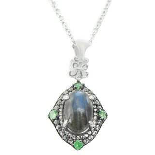 One-of-a-kind Michael Valitutti Palladium Silver Labradorite, Chrome Diopside and White Zircon Pendant