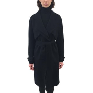 ZAC Zac Posen 'Farrah' Women's Black Wool Blend Trench Coat with Double Lapel Detail