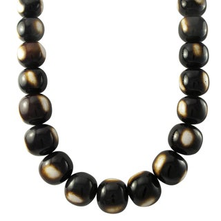 Luxiro Leopard Brown Resin Bead Strand Necklace - White