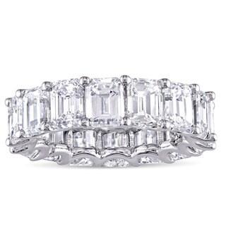 Miadora Signature Collection 18k White Gold 7-7/8ct TDW Certified Emerald-Cut Diamond Full Eternity Band (G-H, SI1-SI2) (IGI)