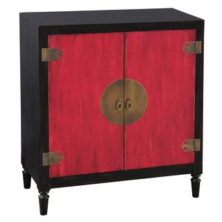 Hand Painted Distressed Black and Red Finish Bar Cabinet