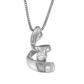 10K White Gold 0.1 ct. TDW Round Cut Diamond Spiral Pendant Necklace (I-J, I2-I3)