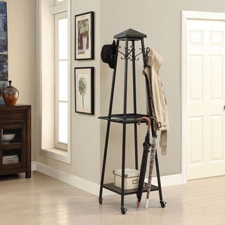 Madison Black Standalone Coat Rack and Storage Tower