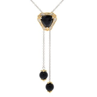 One-of-a-kind Michael Valitutti Palladium Silver Trillion Rose Cut Black Onyx and Bead Pendant