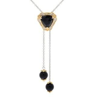 Michael Valitutti Palladium Silver Trillion Rose-cut Black Onyx and Bead Pendant