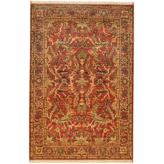 Herat Oriental Indo Hand-knotted Vegetable Dye Oushak Wool Rug (4' x 5'10)