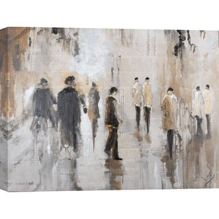Hobbitholeco. 'Figures on Street' 32 x 48 Gallery-Wrapped Canvas Wall Art