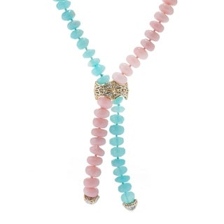 Michael Valitutti Palladium Silver Blue and Pink Opal Bead Bolo Necklace