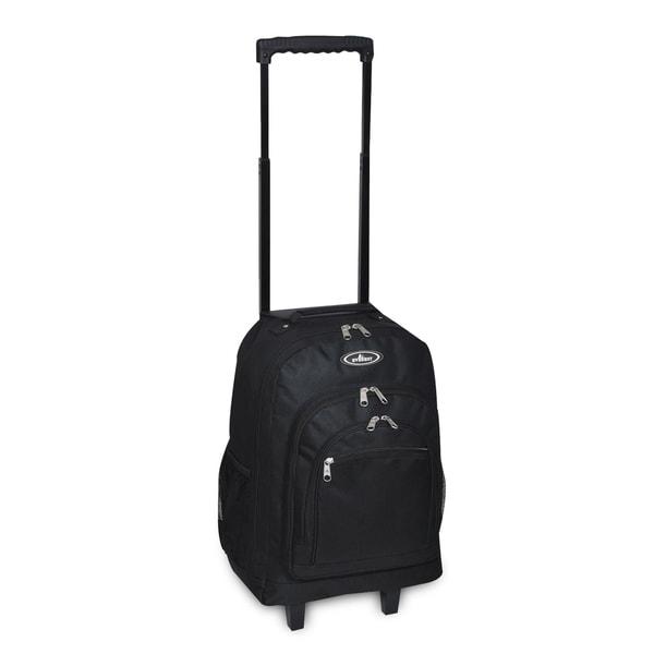 Everest Black Polyester 18-inch Rolling Backpack