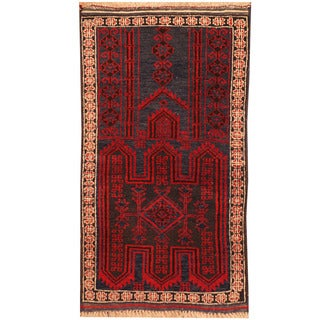 Herat Oriental Afghan Hand-knotted Tribal Balouchi Wool Rug (2'6 x 4'6)