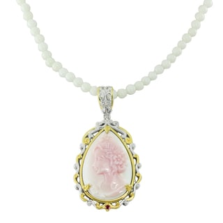 One-of-a-kind Michael Valitutti Palladium Silver Carved Conch Shell, Pink Tourmaline and White Coral Necklace