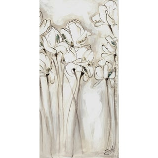 Hobbitholeco 'Flower Sketch IV' 8.5 x 18.5-inch White/ Grey Canvas Wall Art